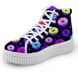 Black Donut Hi Top Shoes Chuck Taylor Inspired Hightop Sneakers Kawaii Fashion