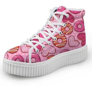 Pink Donut Hi Top Shoes Chuck Taylor Inspired Hightop Sneakers Kawaii Fashion