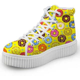 Yellow Donut Hi Top Shoes Chuck Taylor Inspired Hightop Sneakers Kawaii Fashion