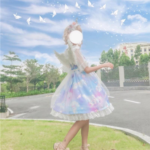 Blue Sweet Lolita JSK Dress Pastel Milky Fairy Kei Unicorn Rainbow Clouds