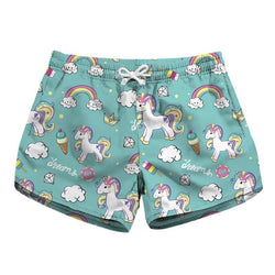 Dreamy Dream Unicorn Shorts Aqua Blue Athletic Kawaii by DDLG playground