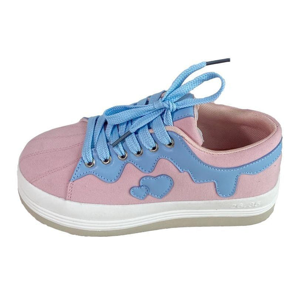 Drippy Sweetheart Sneakers - comfortable, fairy kei, kei sneakers, trainers, harajuku