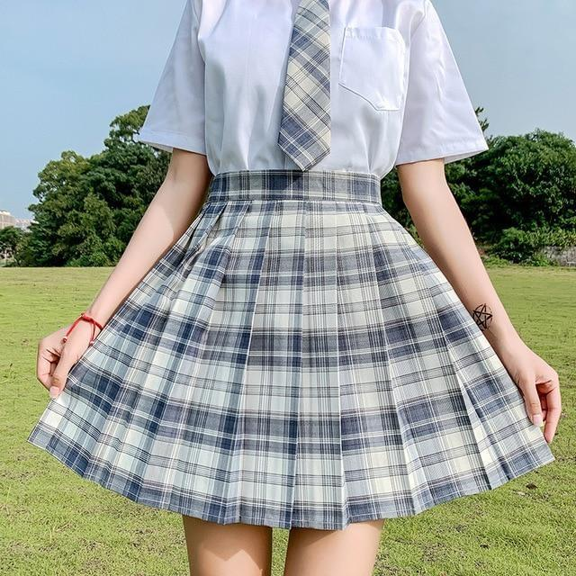 Electric Plaid Pleated Skirt - 01 / XXL - clothing, electric, electric aura, goth, gothic