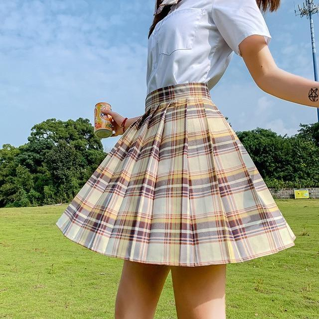Electric Plaid Pleated Skirt - 07 / S - clothing, electric, electric aura, goth, gothic