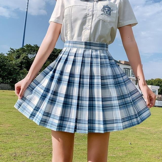 Electric Plaid Pleated Skirt - 12 / L - clothing, electric, electric aura, goth, gothic