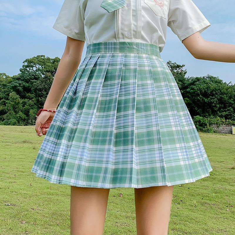 Electric Plaid Pleated Skirt - clothing, electric, electric aura, goth, gothic