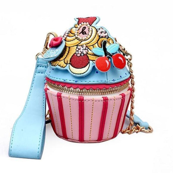 Kawaii Embroidered Cupcake Handbag Purse 3D Cake Cherries Harajuku Lolita Fashion Bag
