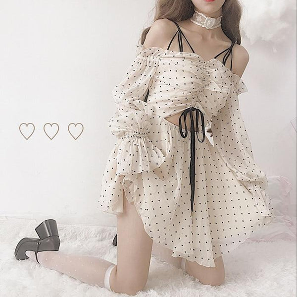 Ethereal Girly Summer Dress Long Sleeve Belly Hollow Cutout Cute Kawaii Mori Girl