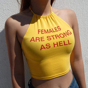 Yellow Females Are Strong As Hell Cropped Top Crop Belly Shirt Top Feminist Feminism Girl Power Empowerment