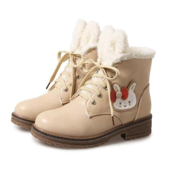 Fleecey Bunny Booties - Beige / 7.5 - shoes