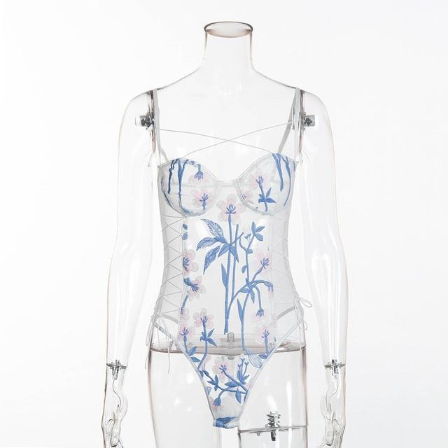 Floral Mesh Harnessed Bodysuit - bodysuit, dresses, flower jumpsuit, jumpsuits