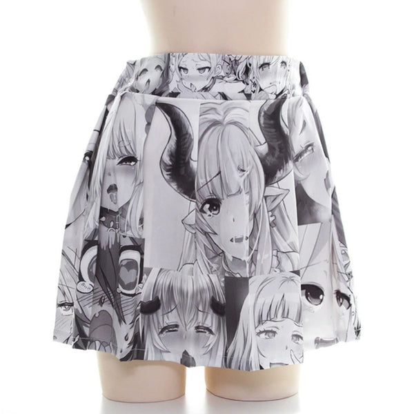 Flowing Ahegao Skirt - Black & White - ahegao, anime, manga, otaku, plus sized