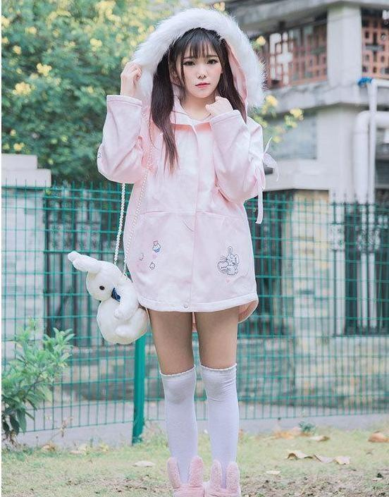 Kawaii Pink Fluffy Bunny Winter Jacket Faux Fur Hood Hooded Sweater Harajuku Lolita Fashion