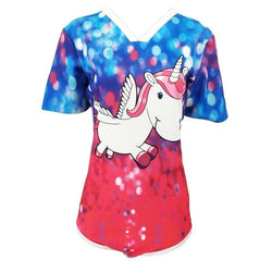 Red Blue Unicorn Adult Baby Onesie ABDL CGL Kink Fetish Romper Bodysuit Jumper Snap Crotch by DDLG Playground