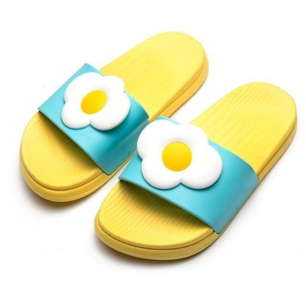 Kawaii Yellow Egg Slip On Sandals Beach Indoor Shoes Slippers Squishy Soft by DDLG Playground
