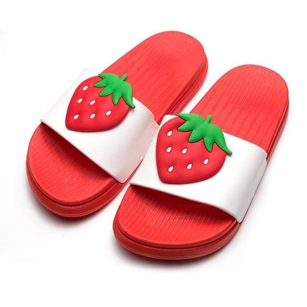Kawaii Strawberry Slip On Sandals Beach Indoor Shoes Slippers Squishy Soft