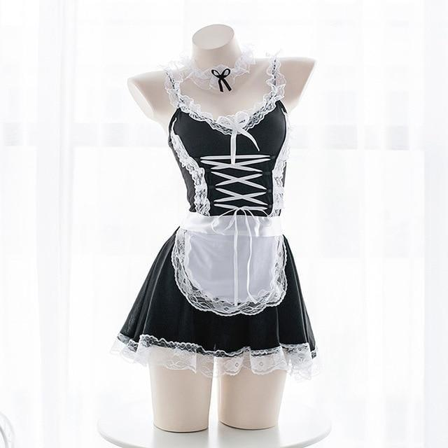 Sexy French Maid Roleplay Dress Lingerie Costume Cosplay Seductive Kinky Fetis