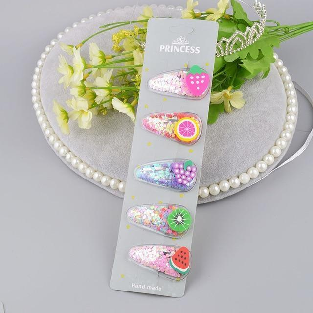 Fruity Glitter Hair Barrettes - Fruit Set 2 - hair accessory