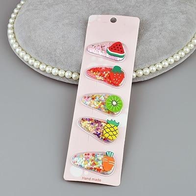 Fruity Glitter Hair Barrettes - Fruit Set 3 - hair accessory