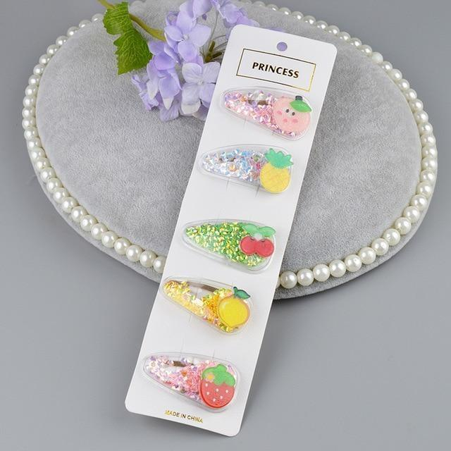 Fruity Glitter Hair Barrettes - Fruit Set 4 - hair accessory