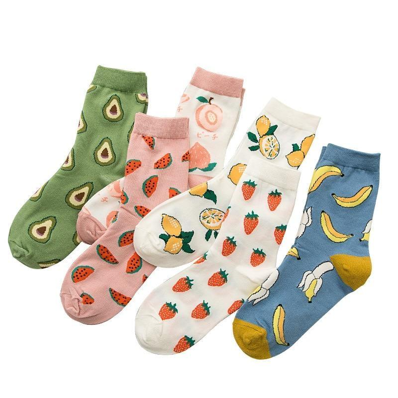 Fruity Sockies - ankle socks, avocado, avocadoes, avocados, bananas