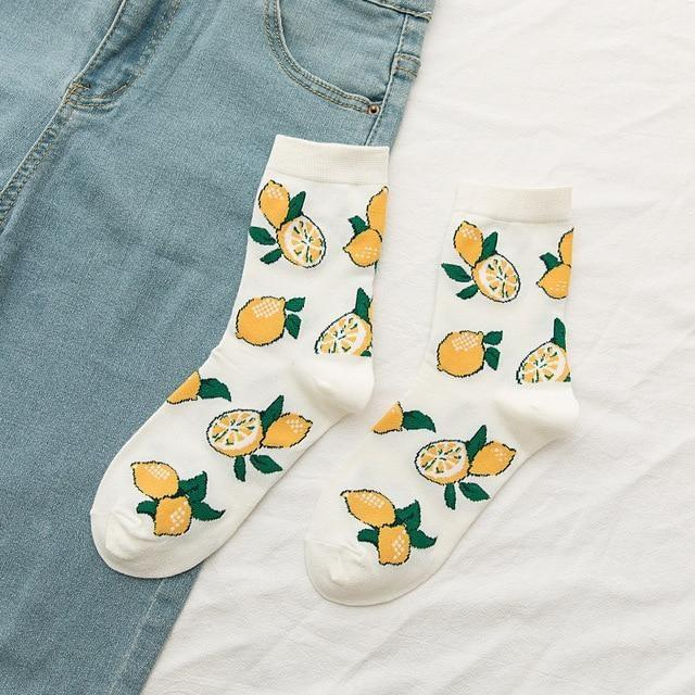 Fruity Sockies - Lemons - ankle socks, avocado, avocadoes, avocados, bananas