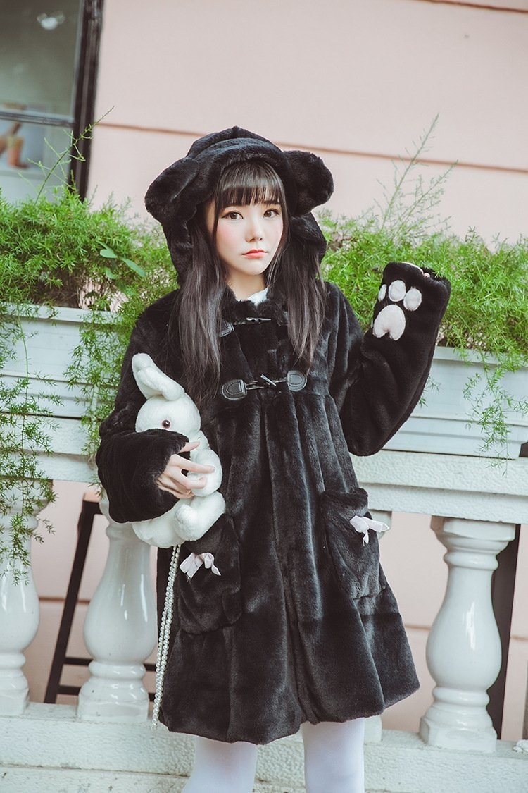 Fur Neko Winter Coat - Black Kitten Coat - jacket