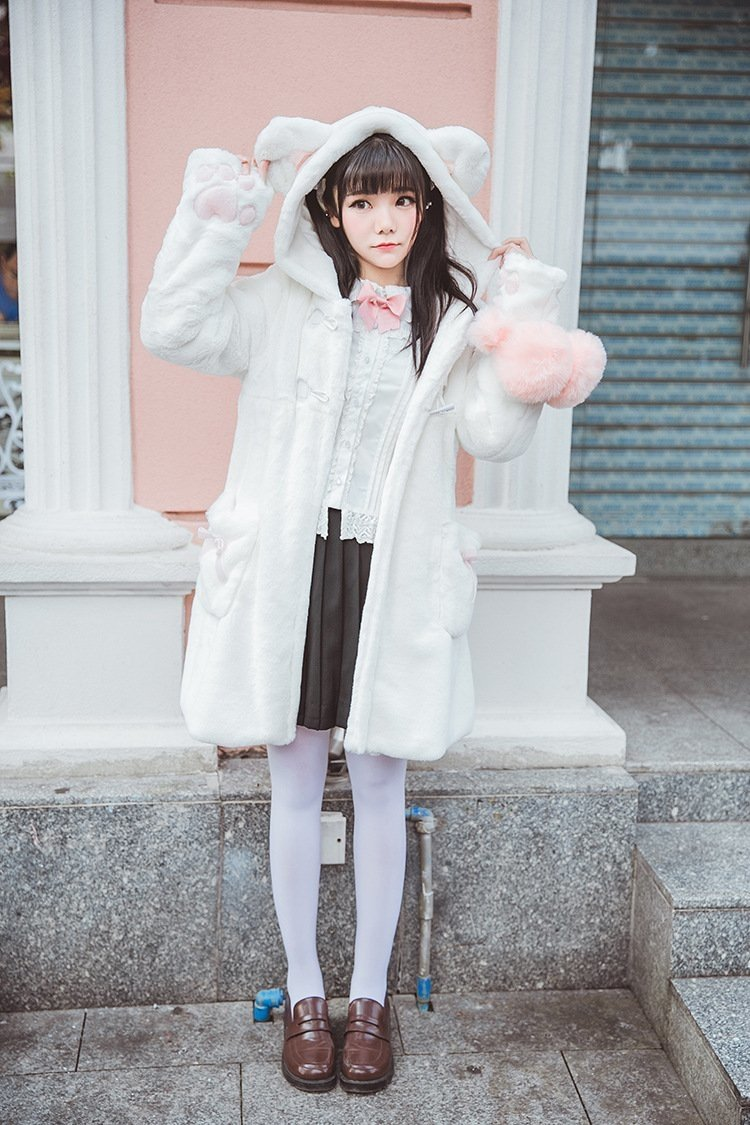Fur Neko Winter Coat - White Kitten Coat - jacket