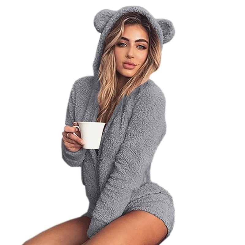Grey Furry Kitten or Bear Romper Bodysuit Adult Onesie One Piece Bear Ears ABDL Age Play DD/LG