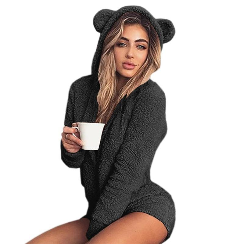 Black Furry Kitten or Bear Romper Bodysuit Adult Onesie One Piece Bear Ears ABDL Age Play DD/LG