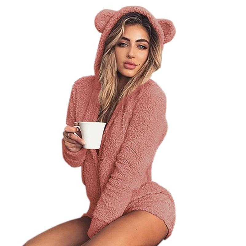 Pink Furry Kitten or Bear Romper Bodysuit Adult Onesie One Piece Bear Ears ABDL Age Play DD/LG