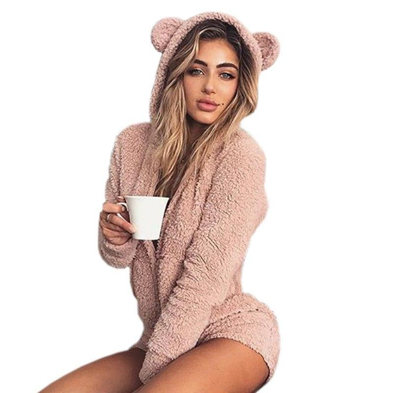 Peach Pink Furry Kitten or Bear Romper Bodysuit Adult Onesie One Piece Bear Ears ABDL Age Play DD/LG