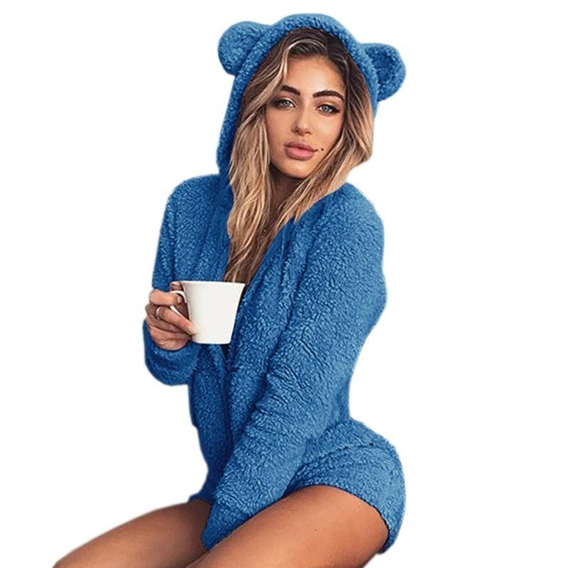 Blue Furry Kitten or Bear Romper Bodysuit Adult Onesie One Piece Bear Ears ABDL Age Play DD/LG