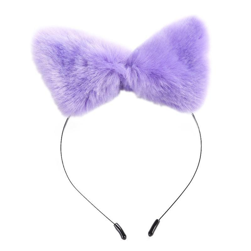 Purple Cat Ear Furry Fox Ear Headband