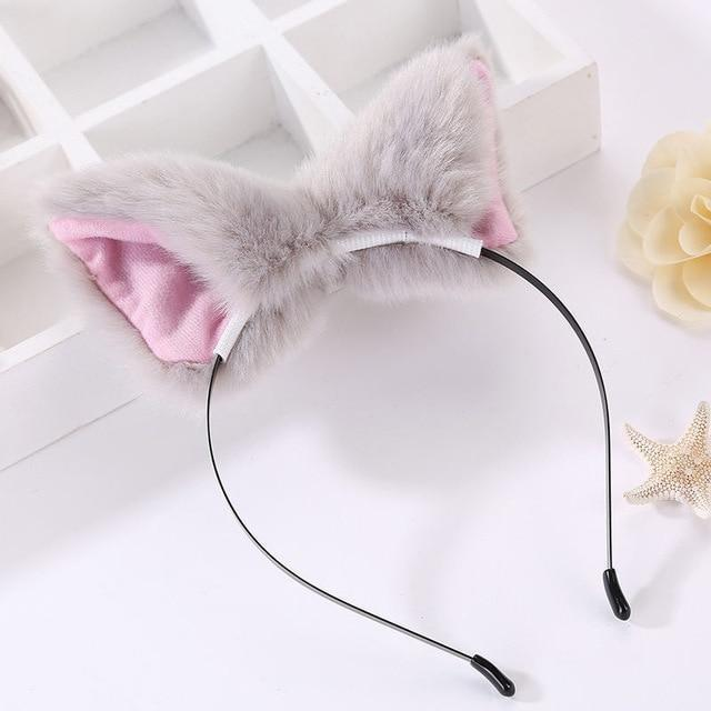 Kawaii Grey Furry Fox Ear Headband Pet Play Little Pet Fetish Kinky Vegan Soft Fuzzy Ears