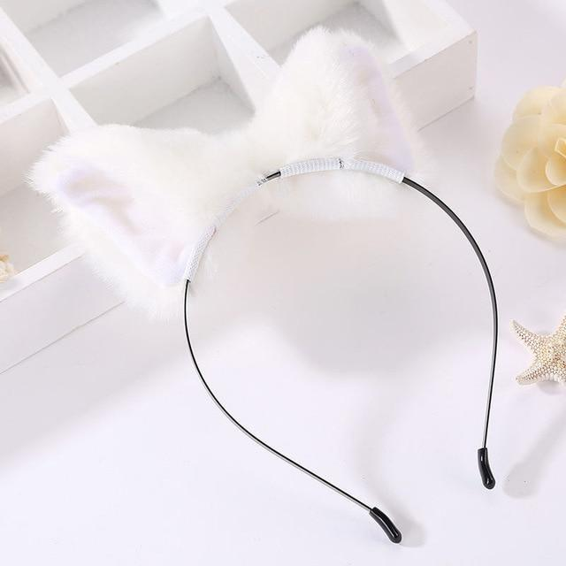 Kawaii White Furry Fox Ear Headband Pet Play Little Pet Fetish Kinky Vegan Soft Fuzzy Ears