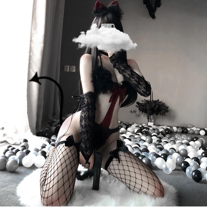 Furry Kitten Cosplay Set (Xmas Inspired) - Outfit + Stockings - bunny, cat, cat and dog, christmas, fur