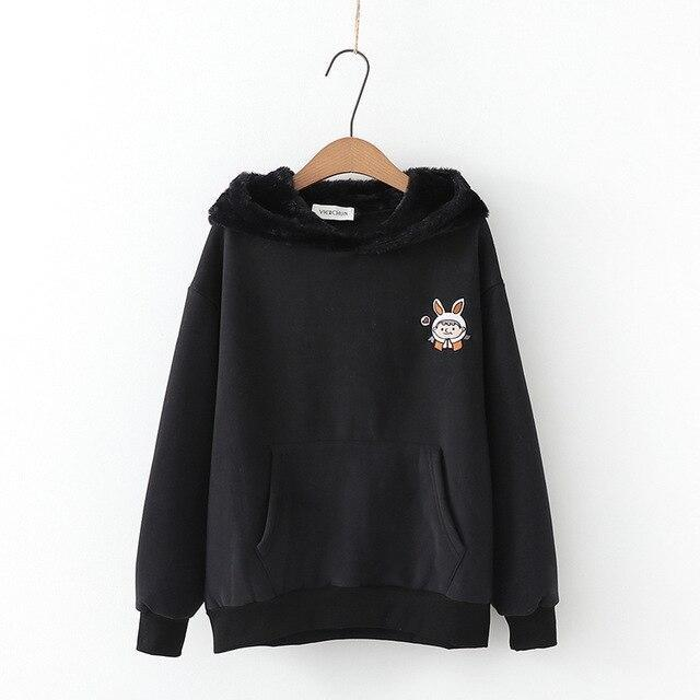 Fuzzy Bunny Ear Hoodie - Black - sweater