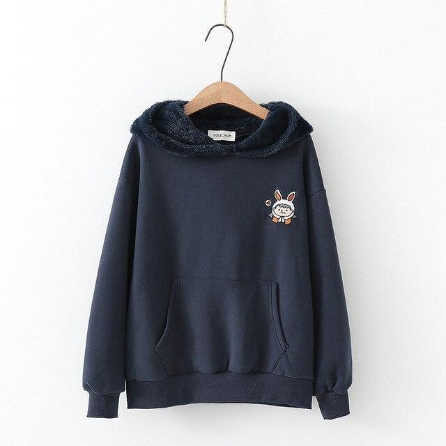 Fuzzy Bunny Ear Hoodie - Navy Blue - sweater