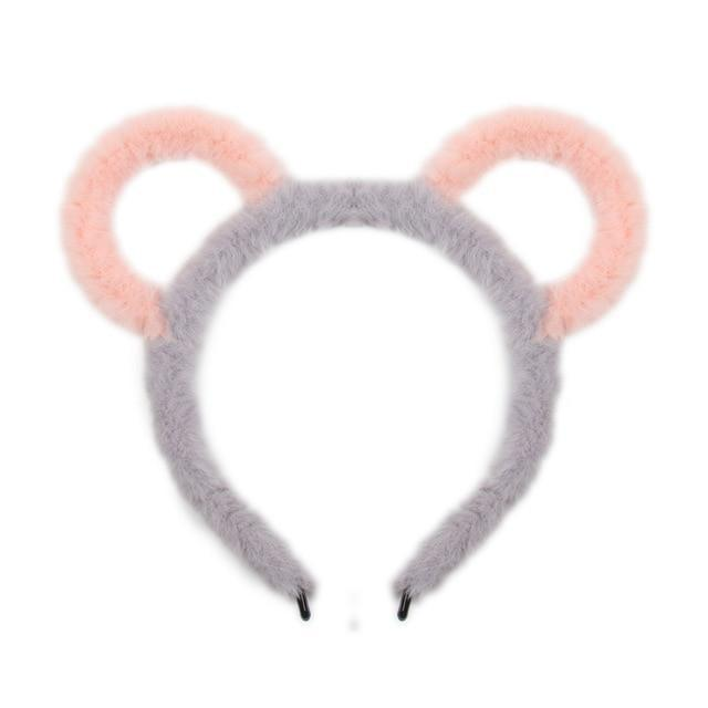 Fuzzy Ear Headbands - Grey/Pink Bear Ears - hair accessory