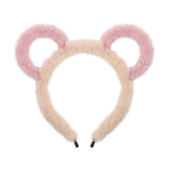 Fuzzy Ear Headbands - Peach/Pink Bear Ears - hair accessory