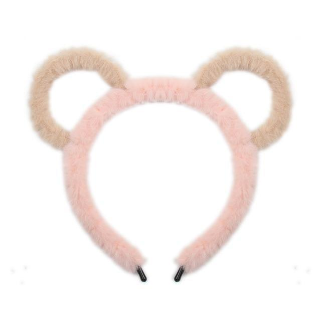 Fuzzy Ear Headbands - Pink/Brown Bear Ears - hair accessory