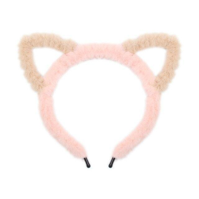 Fuzzy Ear Headbands - Pink/Brown Cat Ears - hair accessory