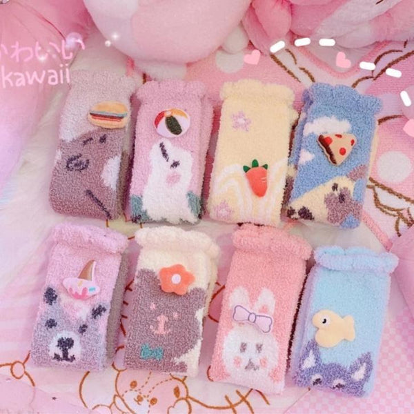 Fuzzy Kawaii Animal Sockies - socks