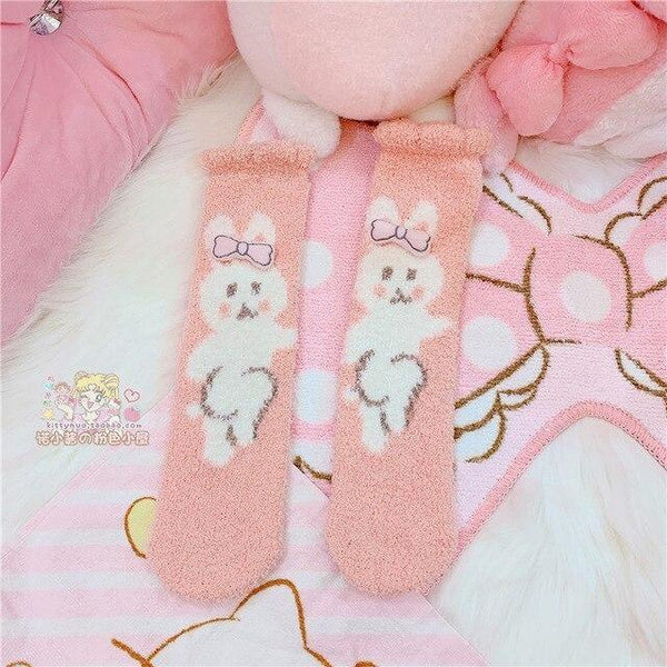 Fuzzy Kawaii Animal Sockies - Pink Bunny - socks