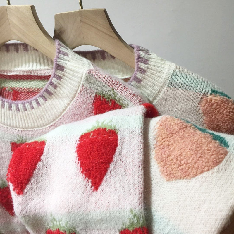 Fuzzy Peaches Floofy Sweater - baby girl, crewneck sweater, fruit, furry, fuz