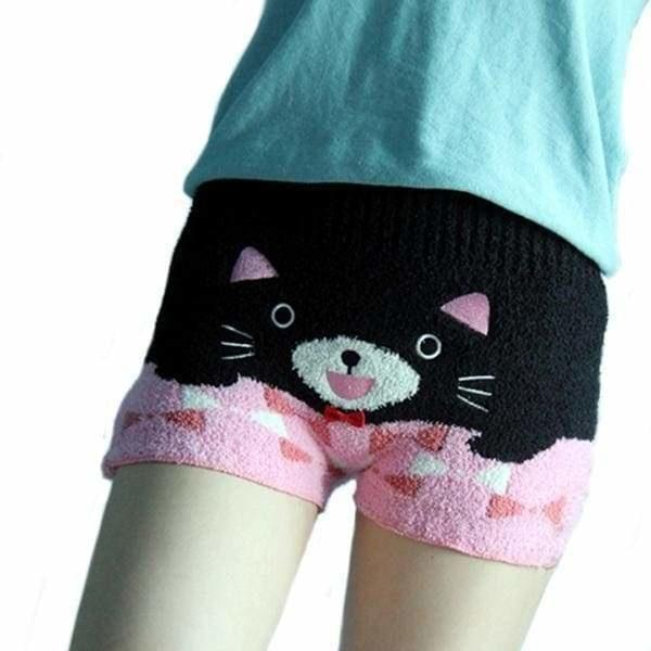 Fuzzy Stretchy Shorts - Black / Pink Kitty - shorts