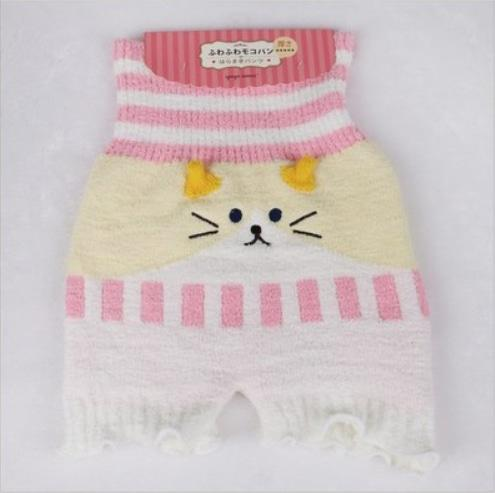 Fuzzy Stretchy Shorts - Pink / Yellow Cat - shorts