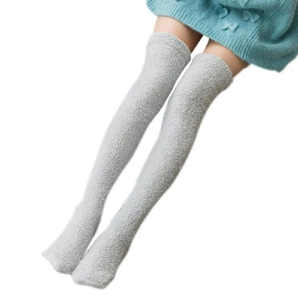 Fuzzy Soft Furry Thigh High Stockings Grey Soft Socks Over The Knee Kawaii Soft Furry