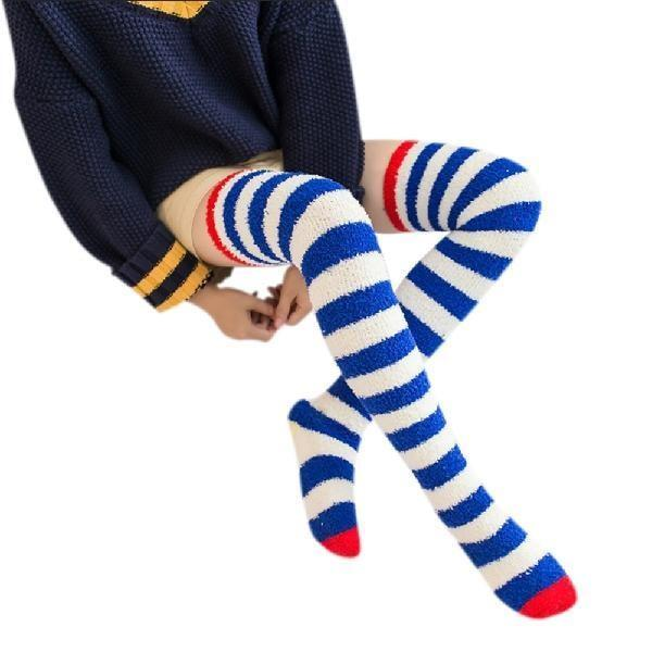Fuzzy Soft Furry Navy Striped Thigh High Stockings Soft Socks Over The Knee Kawaii Soft Furry